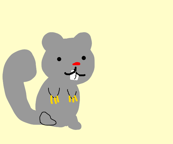 A grey squirrel with golden acrylic nails