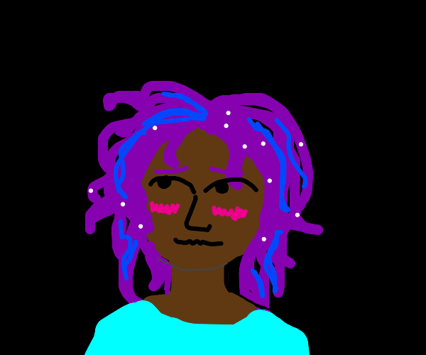 blushing girl with purple/neon starry hair