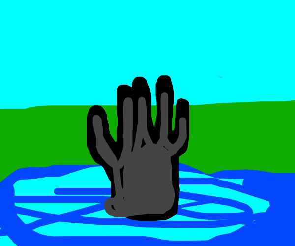 Dark hand comes out of water
