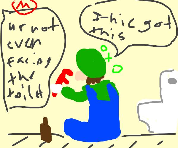 drunk luigi repairs a toilett