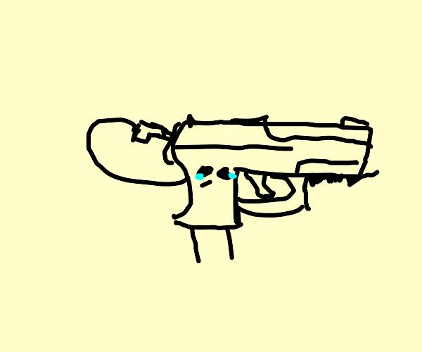Gun shoots itself with a smaller gun
