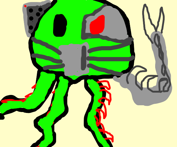 Robotic alien squid with vines and red eyes