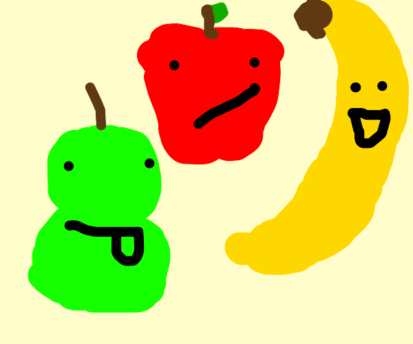 apple pear & banana make faces