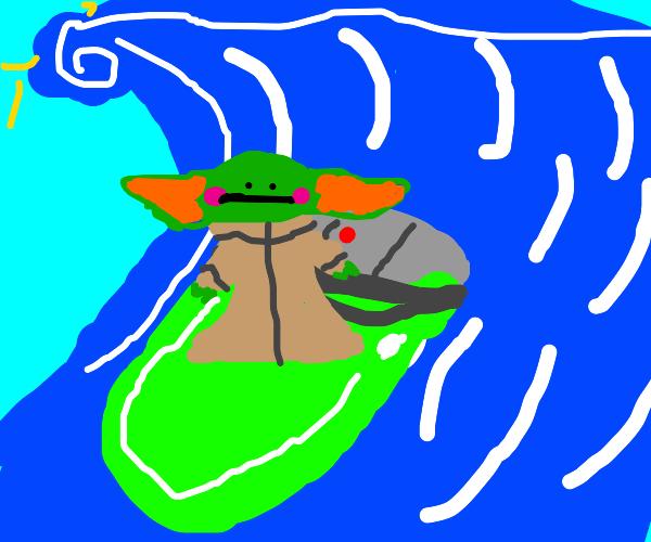 baby yoda surfing