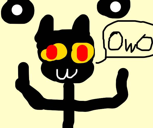 CAT WITH RED HAIR SAYING OWO
