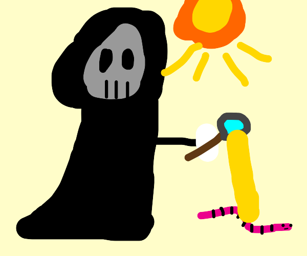 grim reaper kills worm with sun