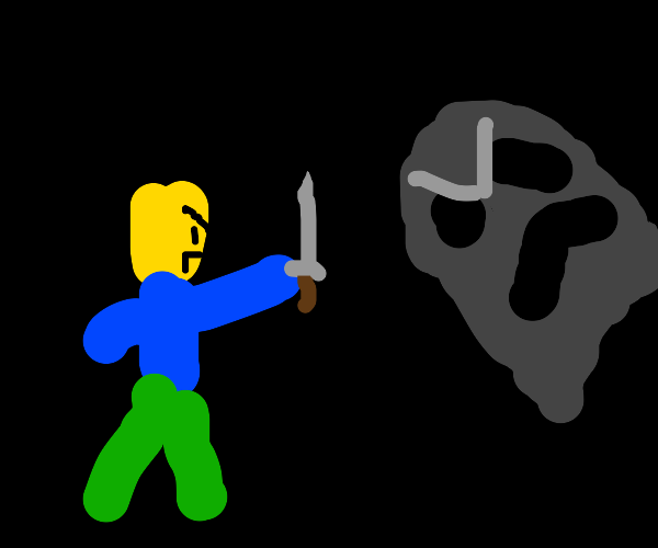 Roblox noob fighting a dark ghost