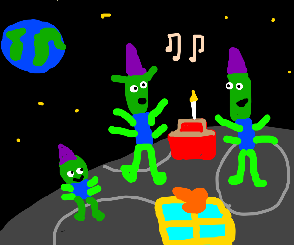 Moon aliens have a birthday party