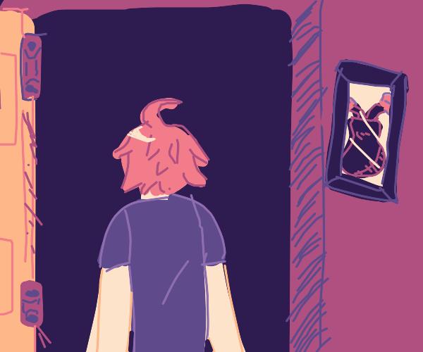 Man opens a door to nowhere