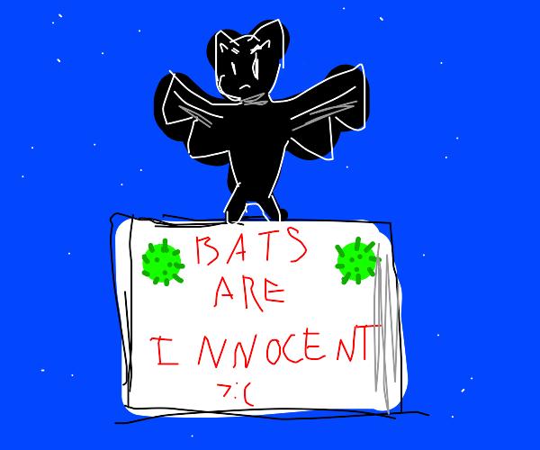 Bat protesting innocence for starting COVID19