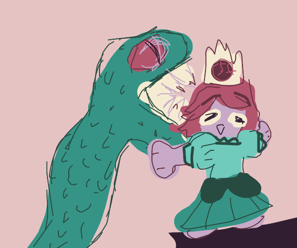 Dinosaur about to vore a derpy princess