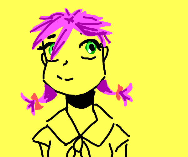 Anime schoolgirl with pink hair