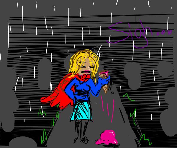 Superhero woman messed up