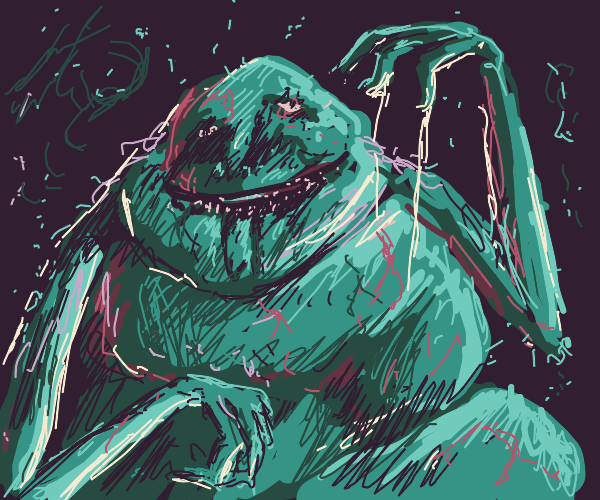 Green, blob-like, sleep paralysis demon