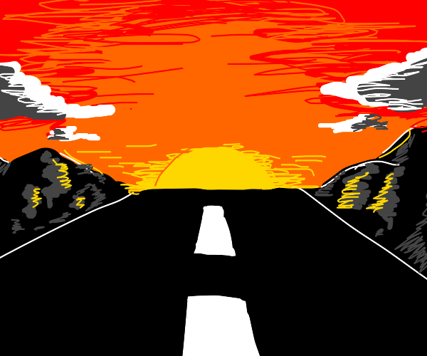 Road going into sunset