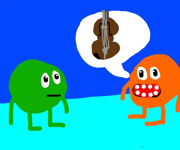 Orange person asks green about violin