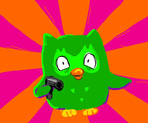 Duolingo owl holds you at gunpoint