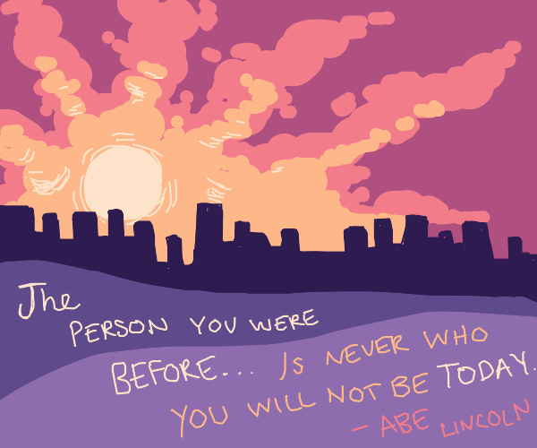 sunrise with a random nonsense quote