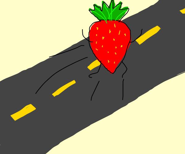 strawberry jumping on street