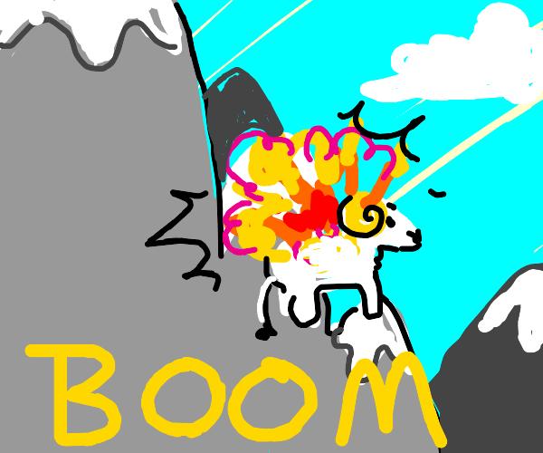 Mountain goat explodes