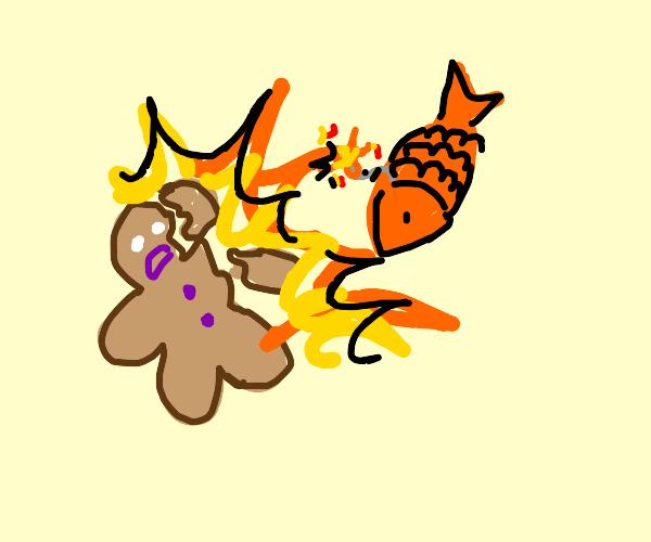 fish-bomb assonates gingerbread man