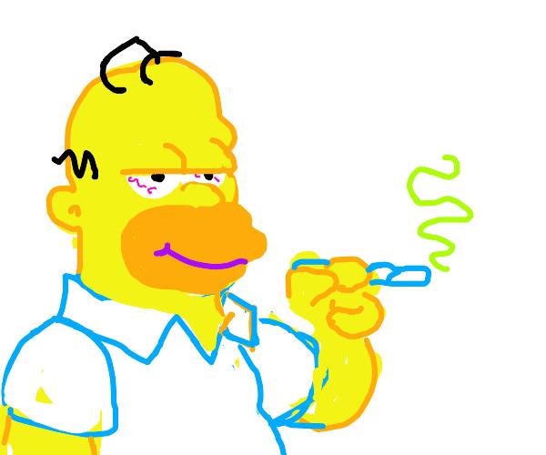 Homer Simpson smoking Weed