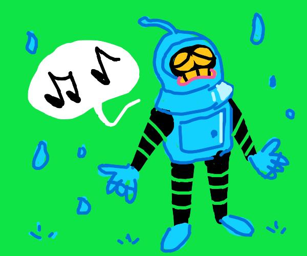 Robot is singin' in the rain