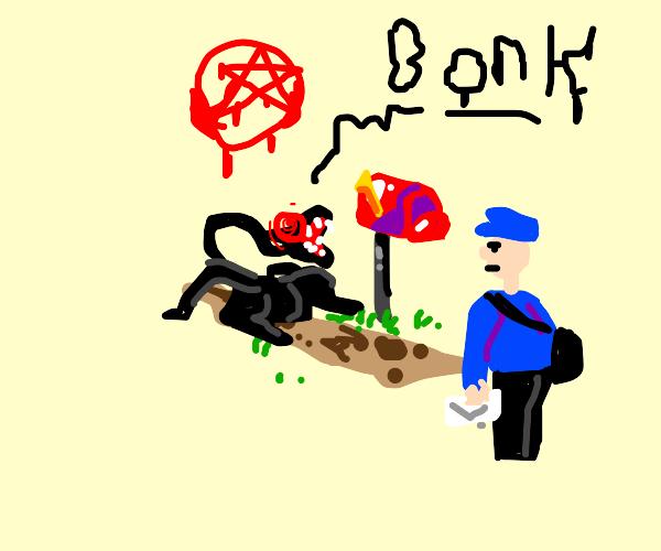 mailman angry at demonic dog guarding mailbox