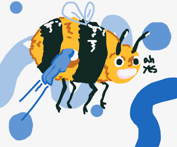 Blue Guy Enters A Bee