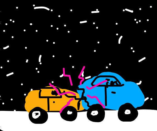 Car crash in snow storm