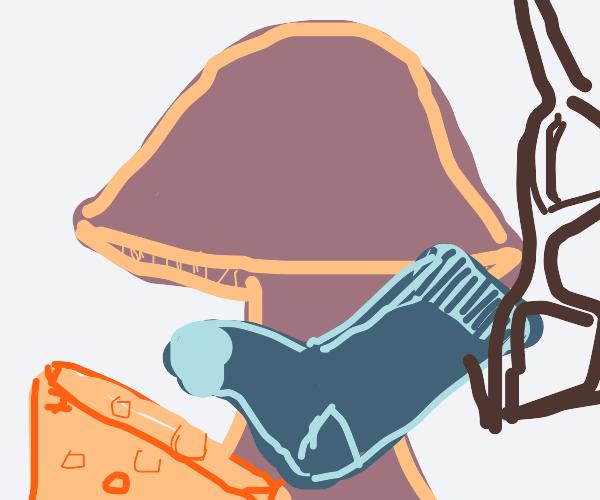 Mushroom, cheese, sock, and glasses