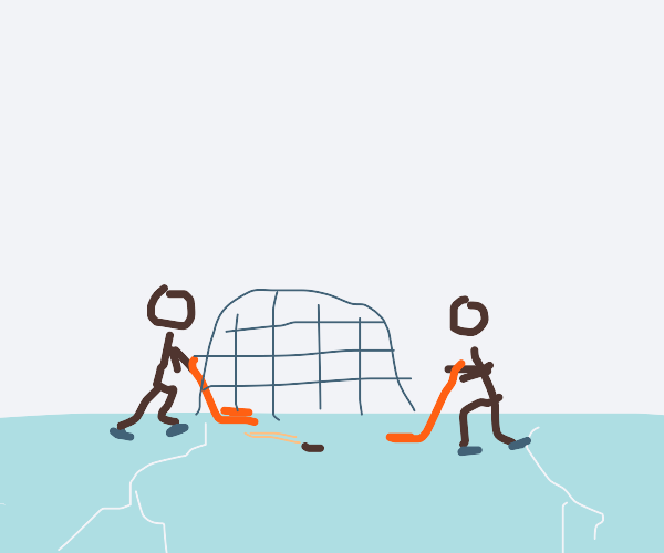 hockey on frozen lake