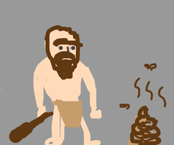 Cave man with some poop