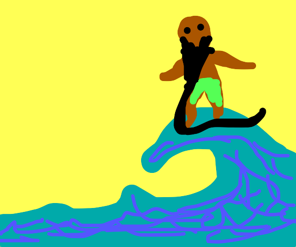 Man with a beard so long, he can surf on it