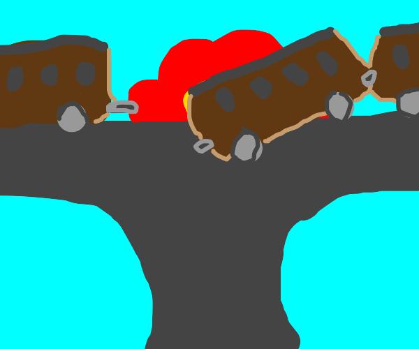 RAILROAD EXPLODES! TRAIN DERAILS!