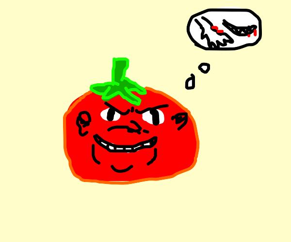 the tomato enjoys the taste of human flesh