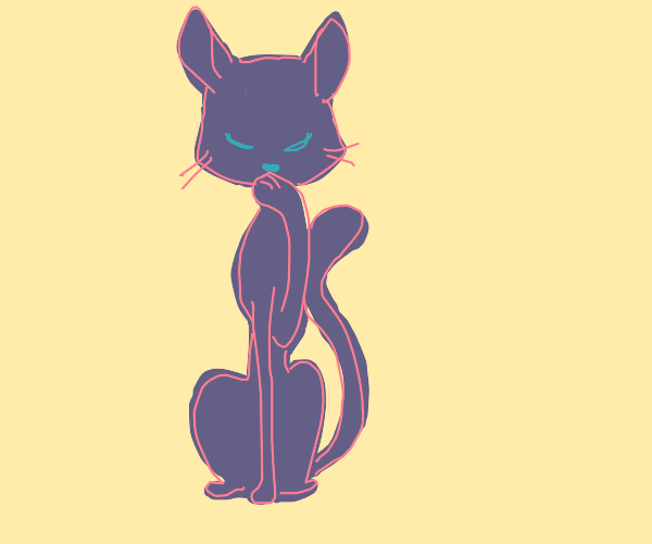 Cat licks its paw