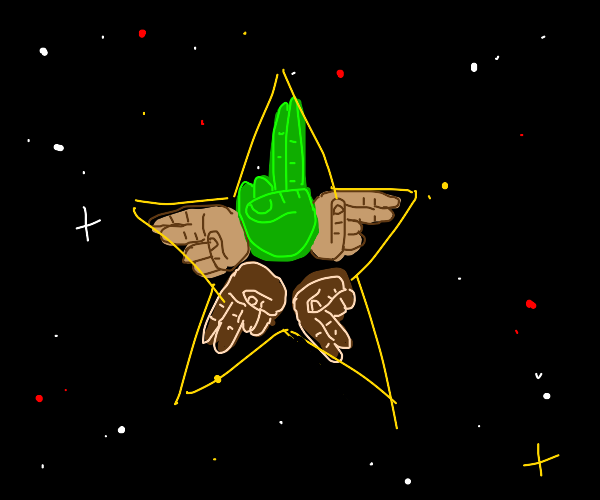 star made of green/brown/tan hands