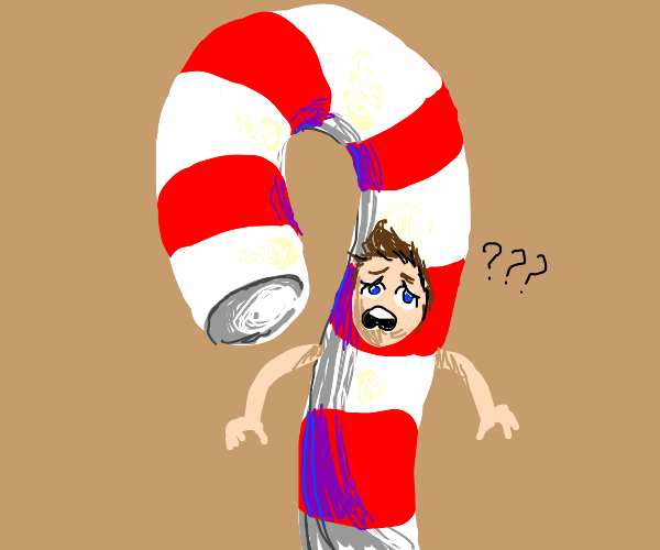 Confused man in a candy cane costume