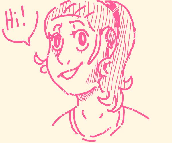 Pink girl says hi