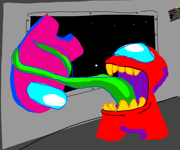 Red impostor eats pink crewmate