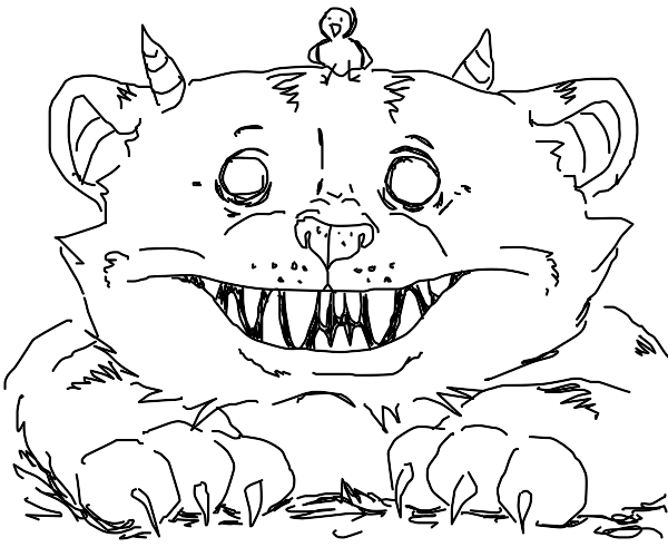birdie on top of a smiling monster