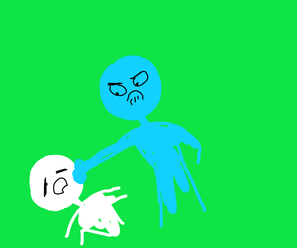 Blue Man fights a person.