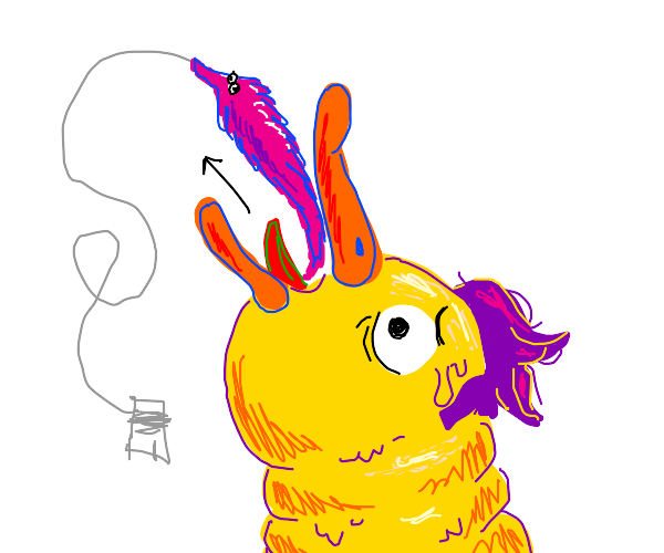 Duck with purple hairdo vomits wormonastring