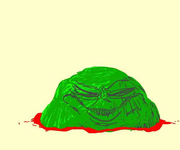 Face in green thing with red underline