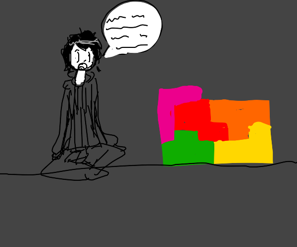 Man trying to communicate with tetris blocks