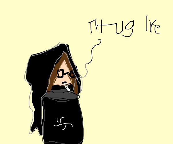 Kid in onesie smoking