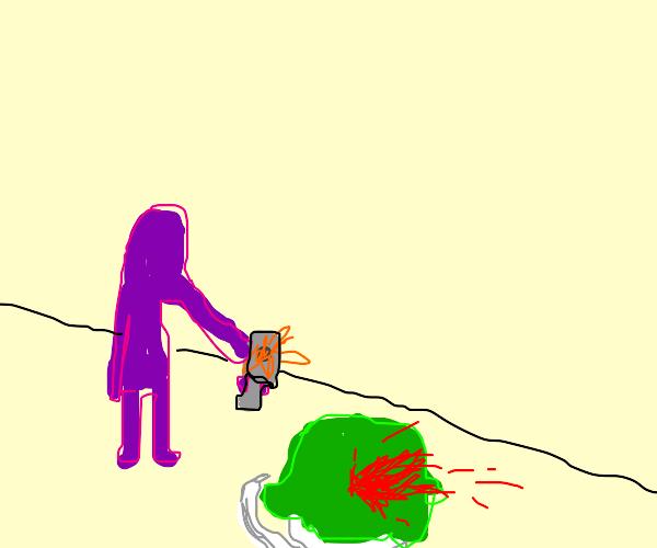 purple guy shoots the joker movie screen