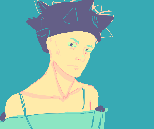 Intense man with blue spikey hat