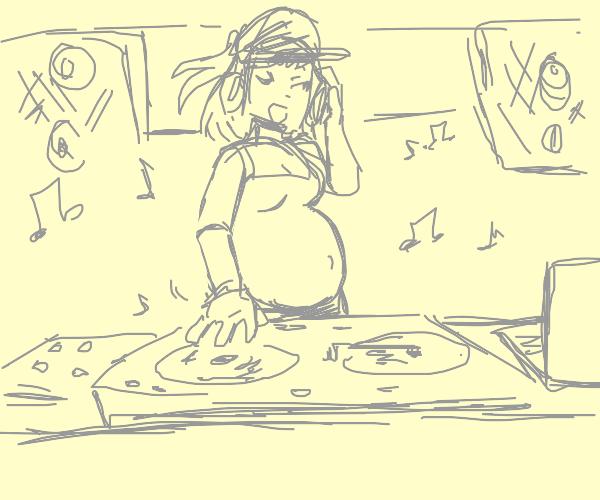 Pregnant woman DJing